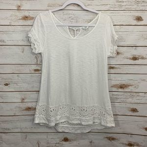 Crown and Ivy White Eyelet Embroidered Blouse